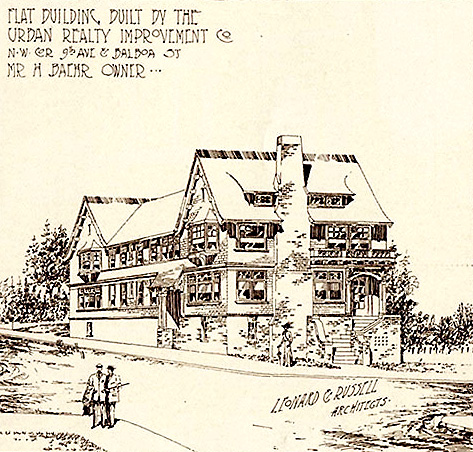 architect's drawing of house in richmond district circa 1910