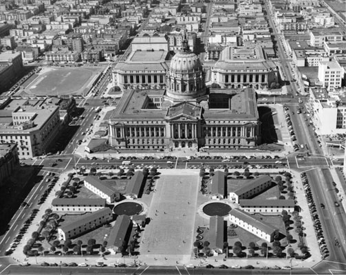 archival photo showing military barracks at City Hall during WW2