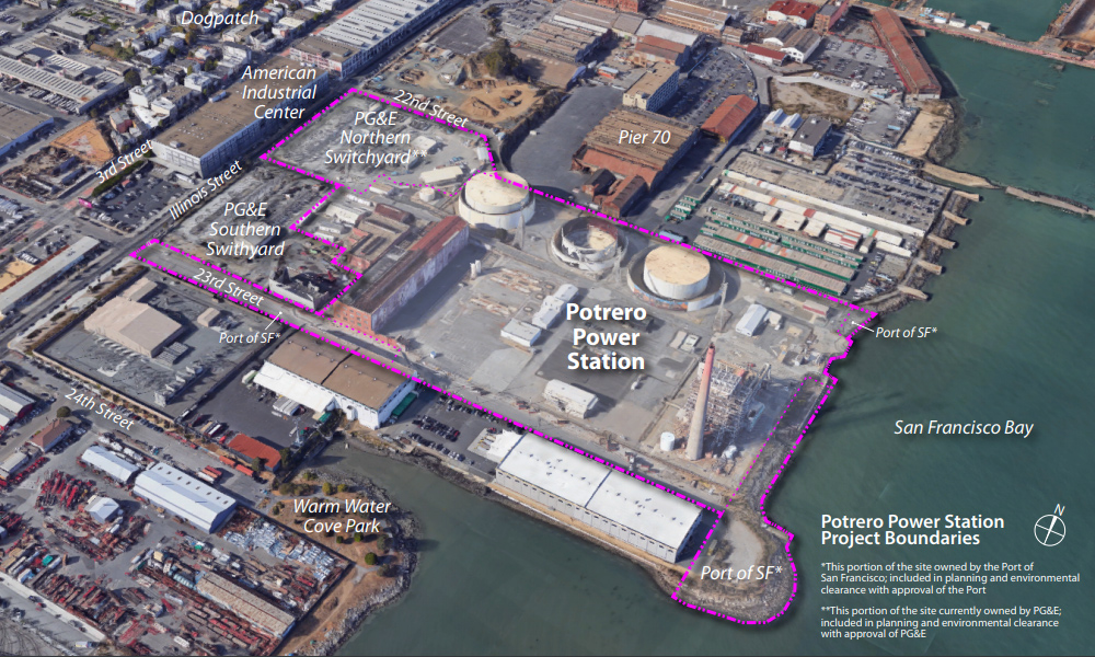 aerial view of power station and pier 70