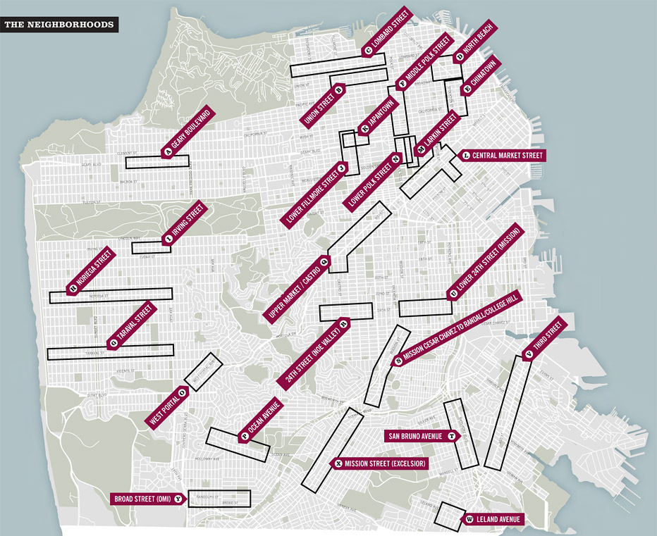 map of san francisco and commercial corridors