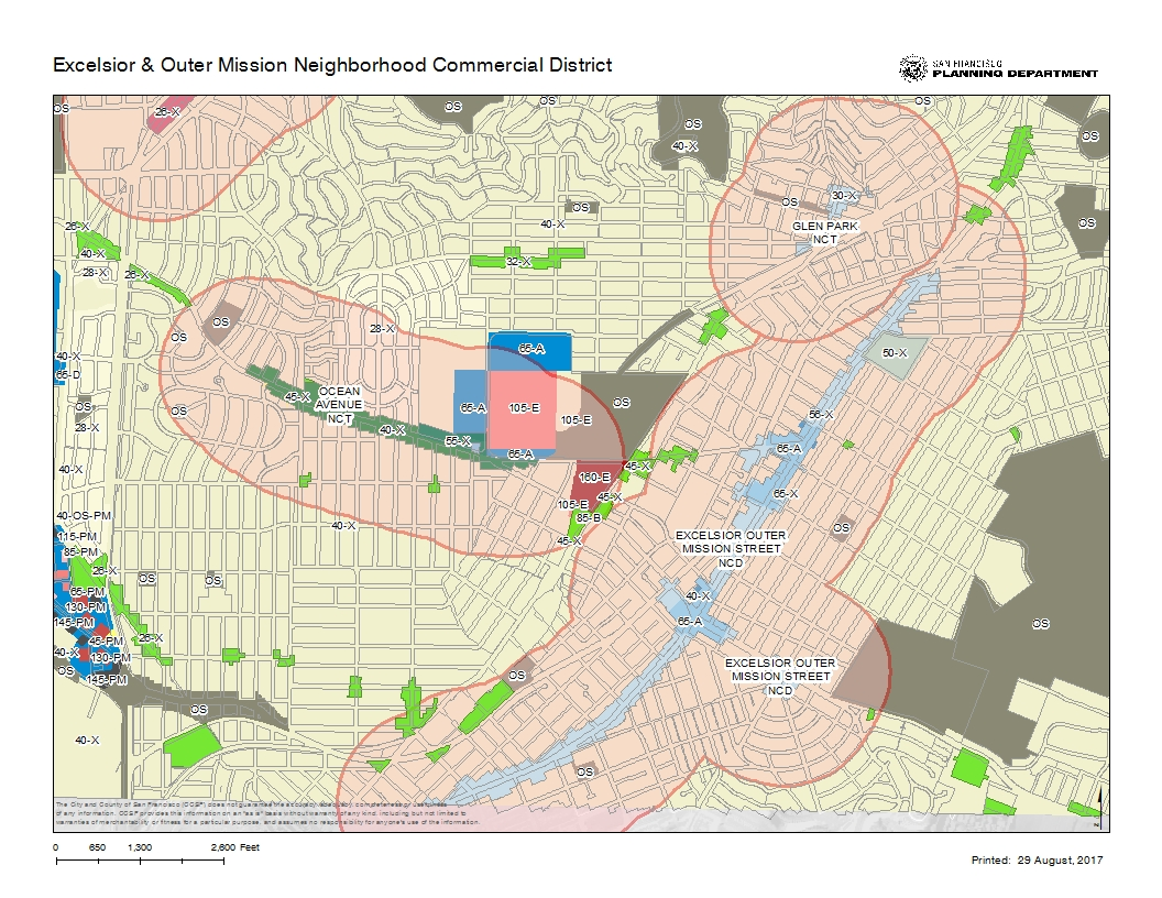 Districts Of San Francisco Map.Excelsior Outer Mission Neighborhood Strategy Planning Department