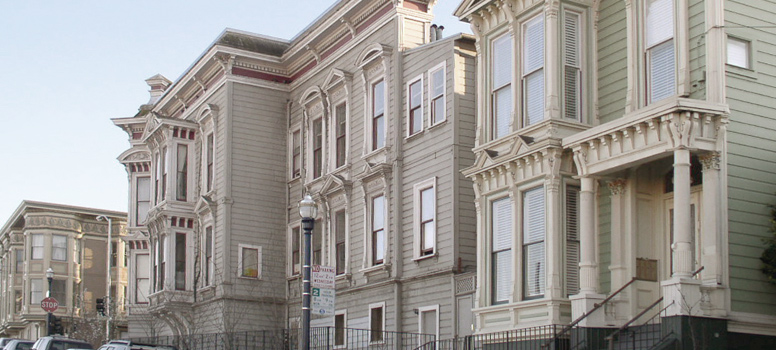 Row of Victorian houses near Market and Octavia streets