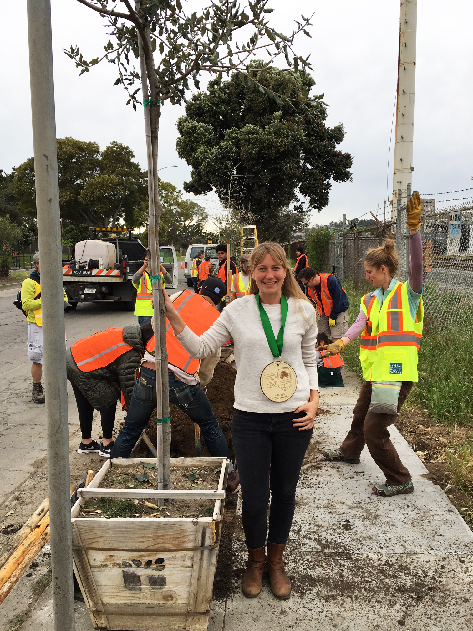 EveryTreeSF Contest Winner, Chloe, with her street tree
