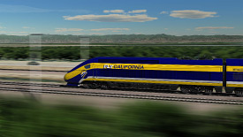 high speed train travelling across central valley of California