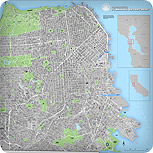 San Francisco Street Map including buildings