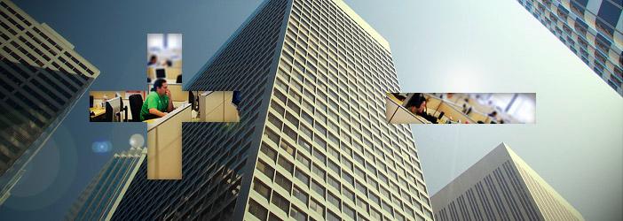 office buildings as seen from below